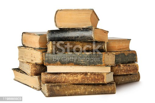 Isolated old books. Three piles of vintage books isolated on white background with clipping path
