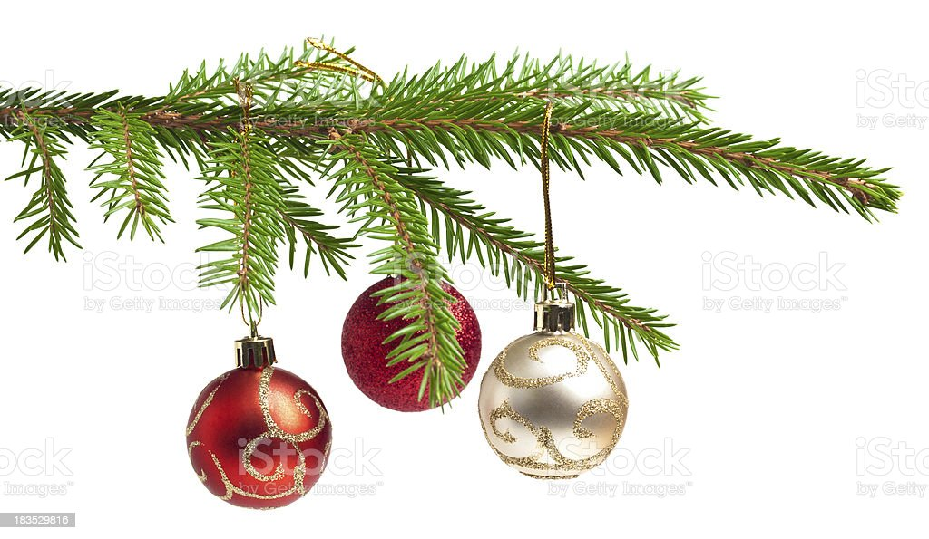 Isolated pine tree branch with three Christmas balls hanging stock photo