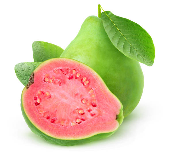 Isolated pink fleshed guava stock photo