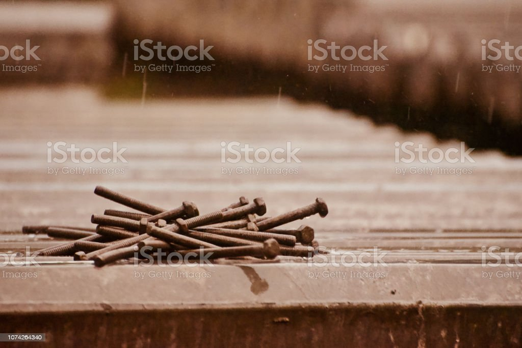 Isolated pins in the rain unique photo stock photo