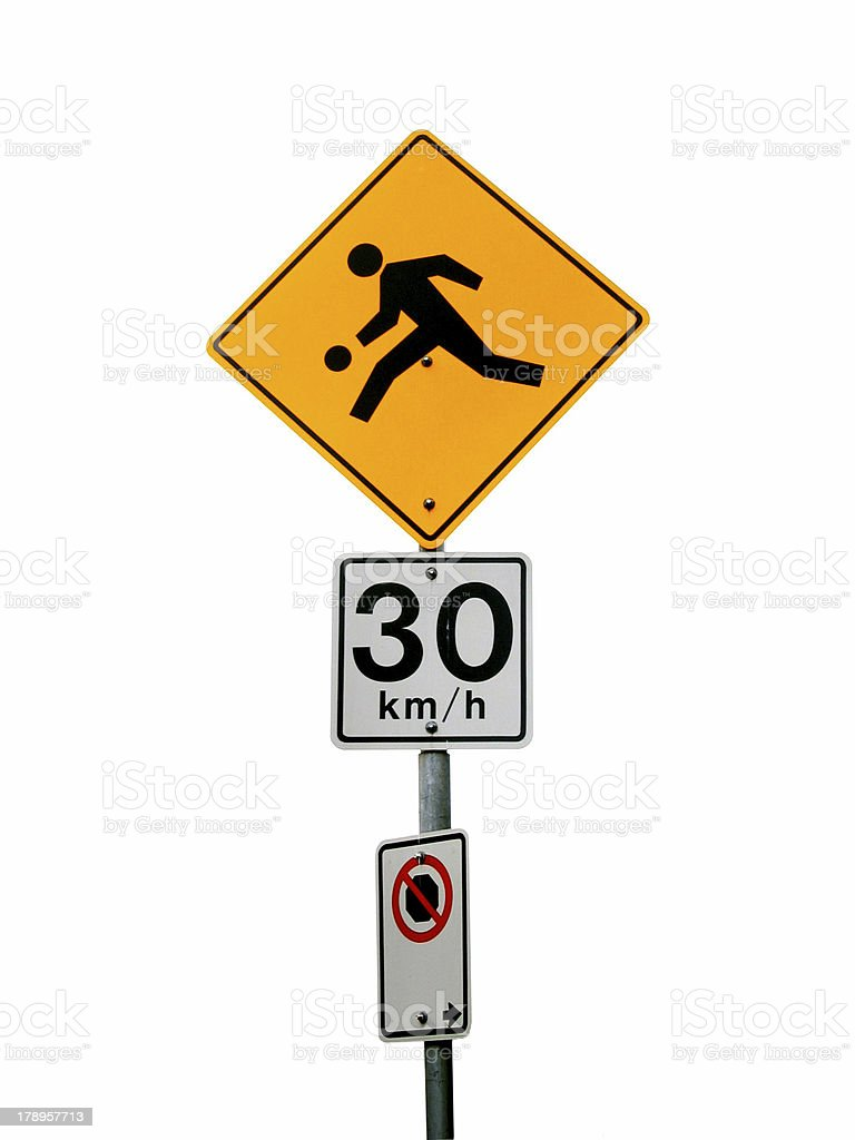 Isolated Playground Traffic Sign stock photo