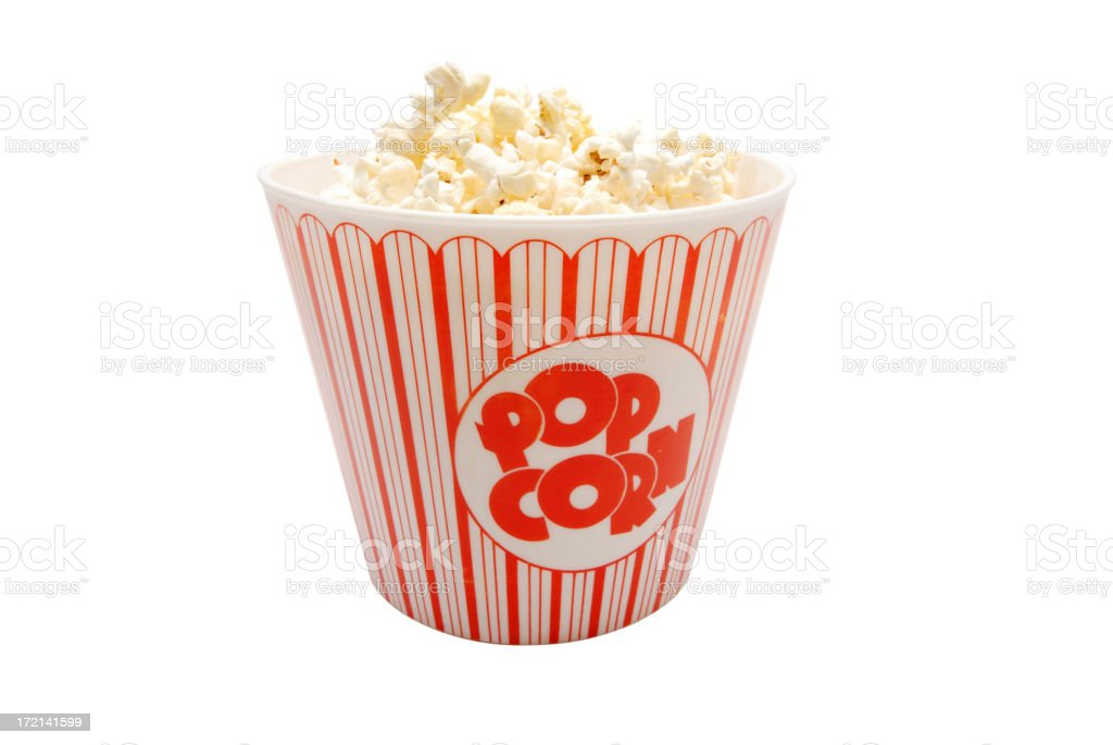 Isolated popcorn tub w/clipping path royalty-free stock photo