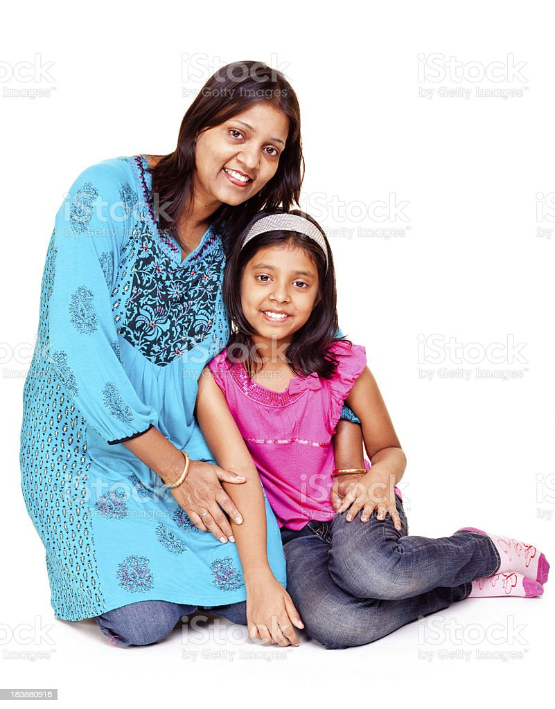 Isolated Portrait of an Indian Asian Mother and Daughter royalty-free stock photo