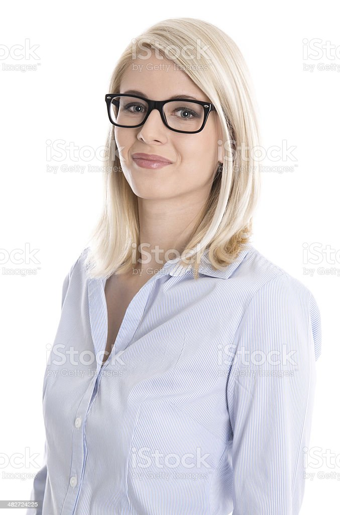 Isolated portrait of blonde business woman with glasses. stock photo