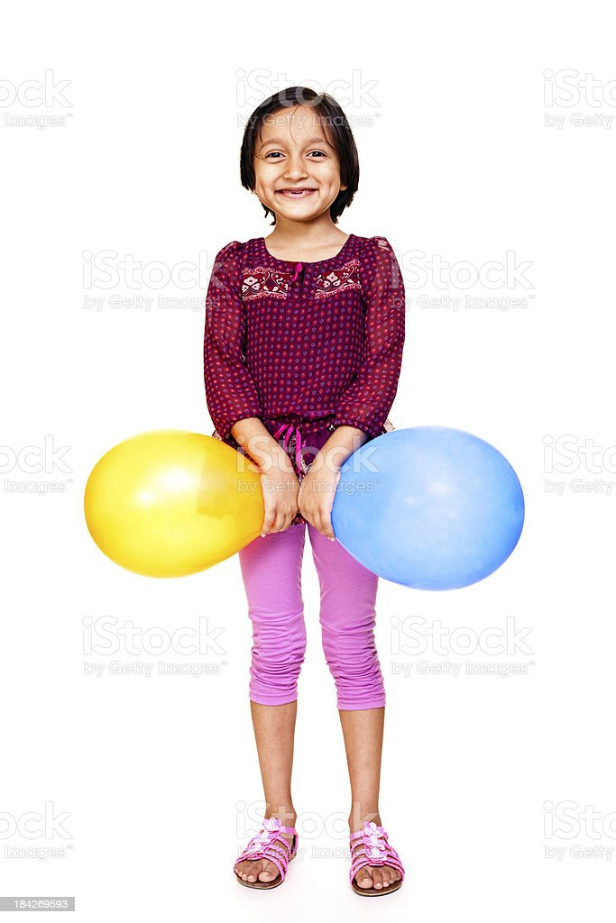 Isolated Portrait of Cheerful Little Indian Girl with Balloons royalty-free stock photo