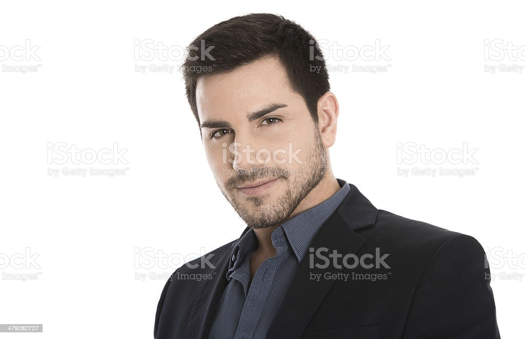 Isolated portrait of handsome young successful manager on white. stock photo