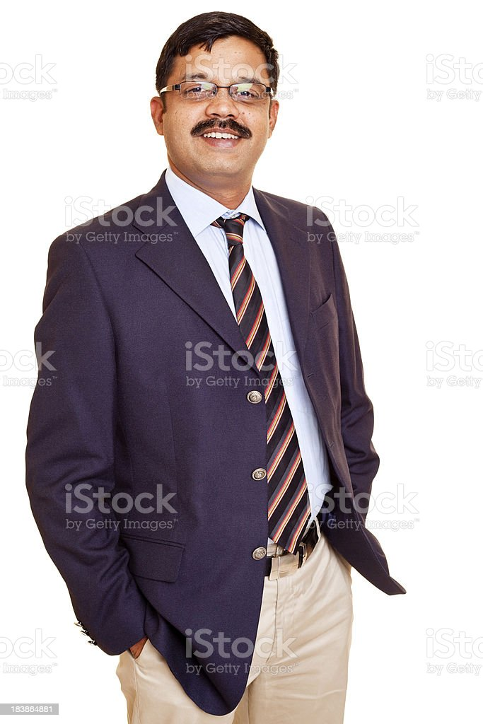 Isolated Portrait of Mid Adult Indian Businessman Manager Office Worker royalty-free stock photo