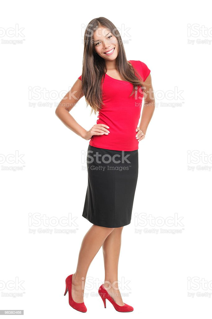 Isolated portrait of woman in full length royalty-free stock photo