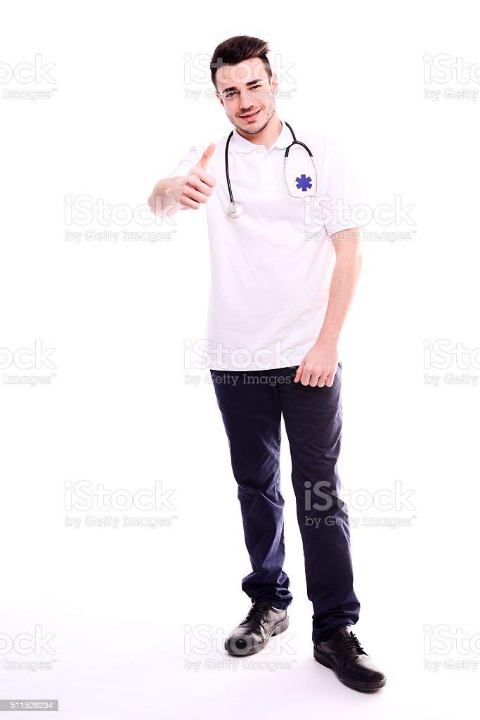 Isolé Portrait de jeune homme sur fond blanc Auxiliaire médical Ambulance conducteur - Photo