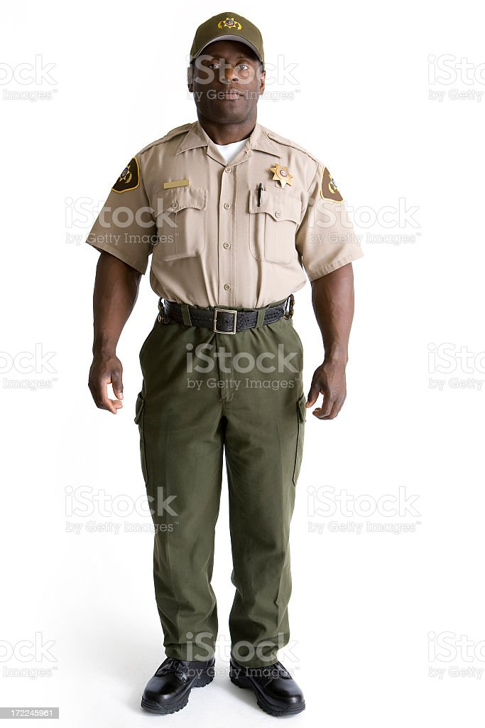Isolated Portraits-African American Law Enforcement Officer royalty-free stock photo