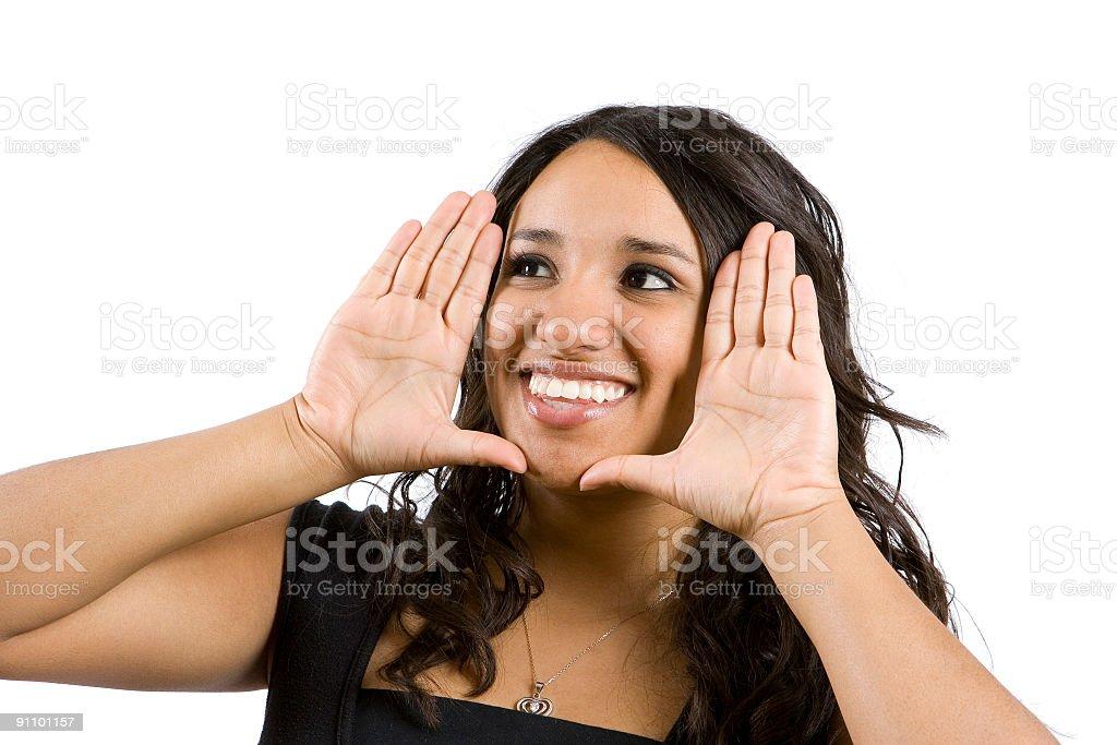 Isolated Portraits-Beautiful Hispanic Girl Framing Face royalty-free stock photo