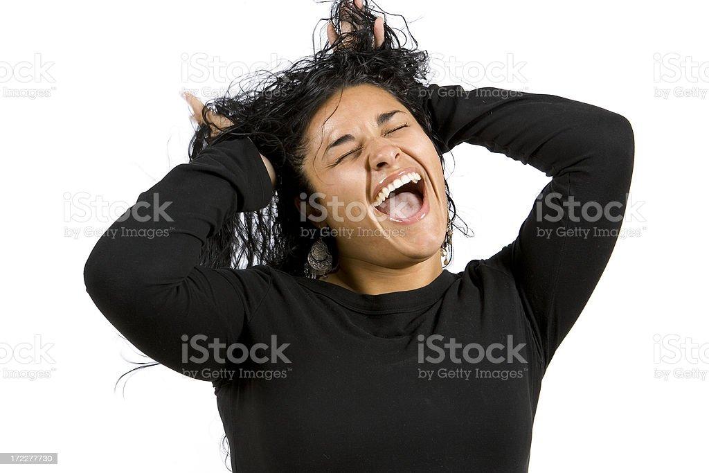 Isolated Portraits-Beautiful Hispanic Woman Shouting royalty-free stock photo