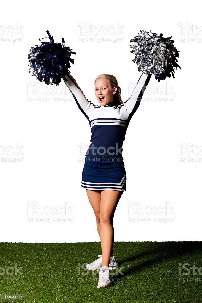 Isolated Portraits-Cheerleader with Pom Poms stock photo