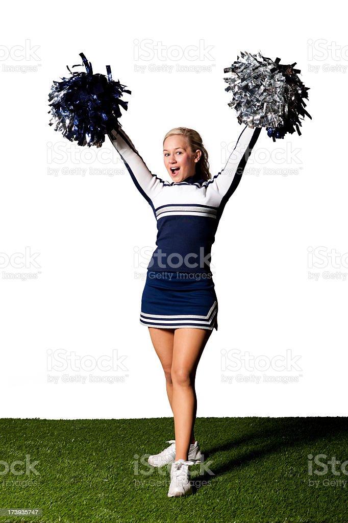 Isolated Portraits-Cheerleader with Pom Poms stock photo