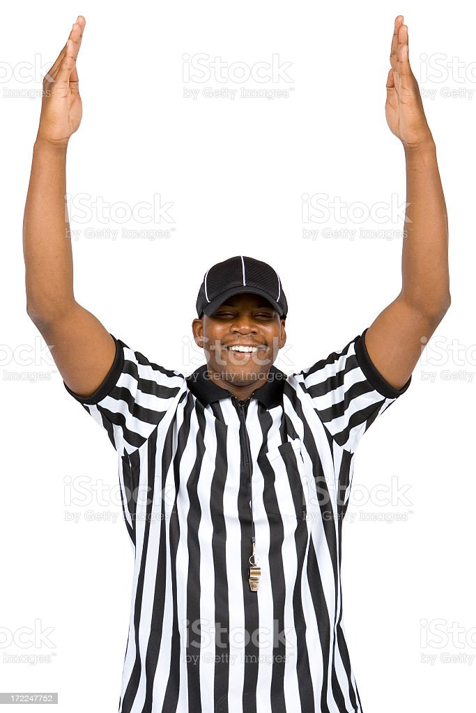 Isolated Portraits-Football Referee: Touchdown! stock photo