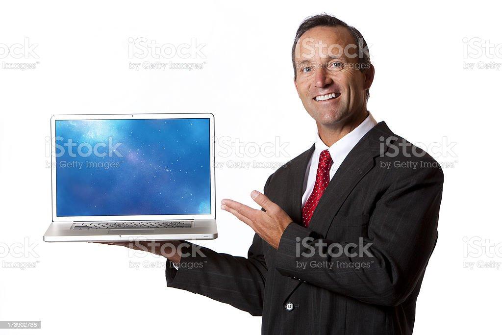 Isolated Portraits-Mature Businessman Laptop Presentation royalty-free stock photo