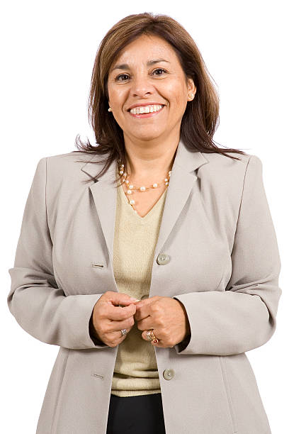 Isolated Portraits-Mature Hispanic Woman stock photo