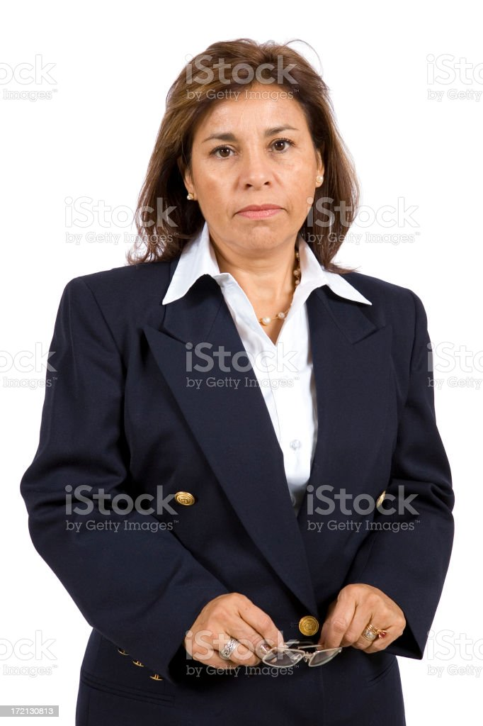 Isolated Portraits-Mature Hispanic Woman royalty-free stock photo