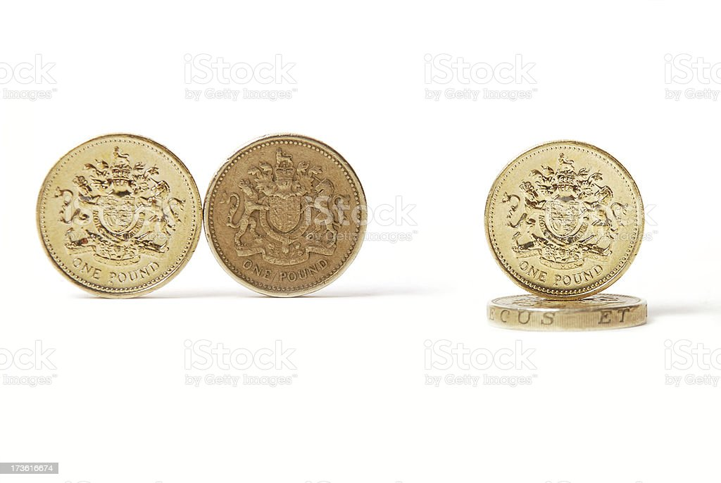 Isolated pound coins stock photo