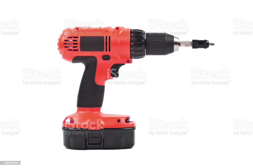 isolated power tool in red stock photo