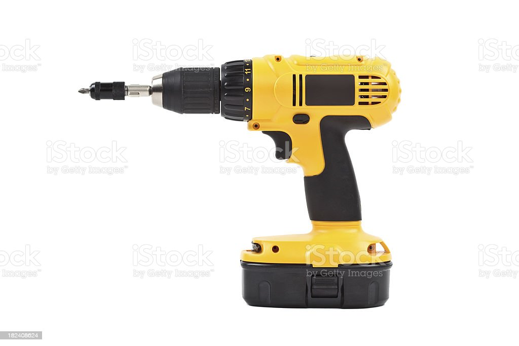 isolated power tool in yellow stock photo