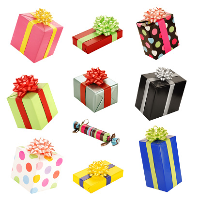 Ten lovely gift boxes isolated on white.  What could be inside?  Nobody knows.  Maybe they're Christmas presents, Chanuka gifts, birthday presents or even a special gift for your customers.  Colorful and happy gift fun time!