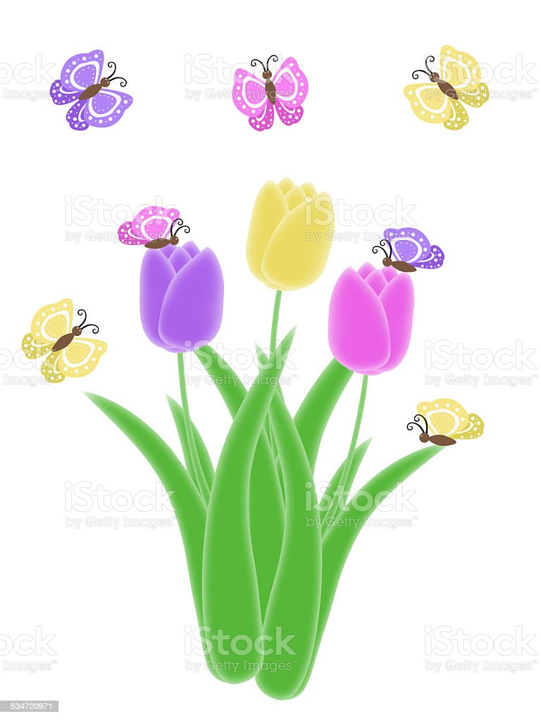 isolated purple pink and yellow butterfly tulip spring easter illustration stock photo