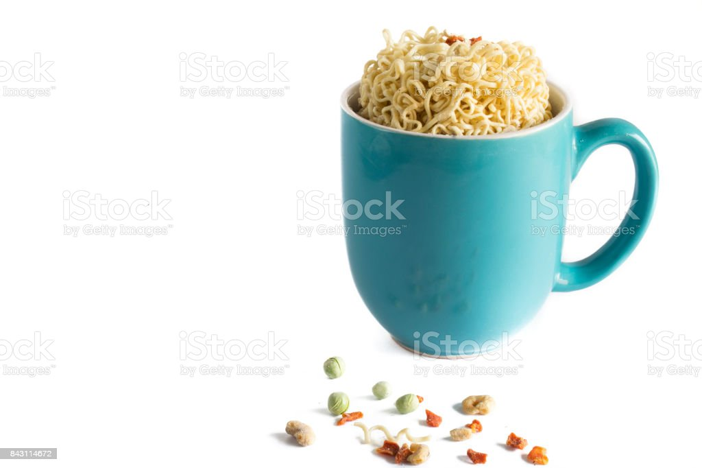 Isolated Raw Cup of Instant Soup stock photo