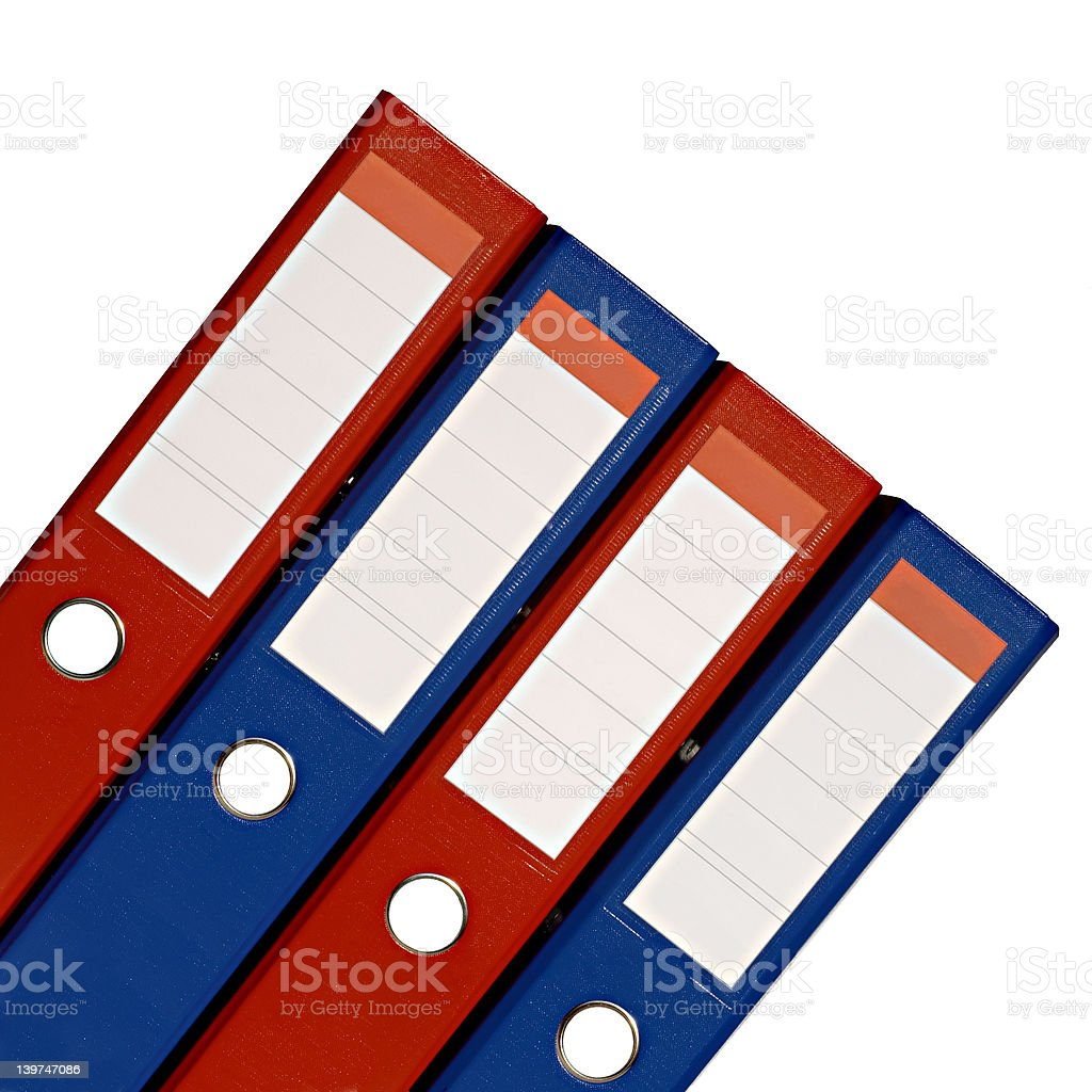 Isolated red and blue files royalty-free stock photo