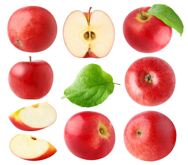 Isolated red apples collection stock photo