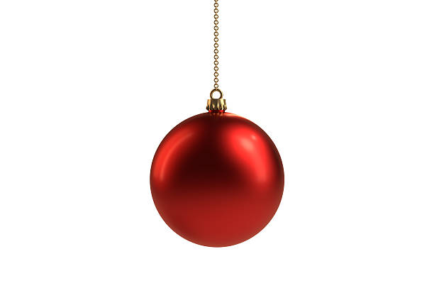 Isolated Red Christmas ball ornament stock photo