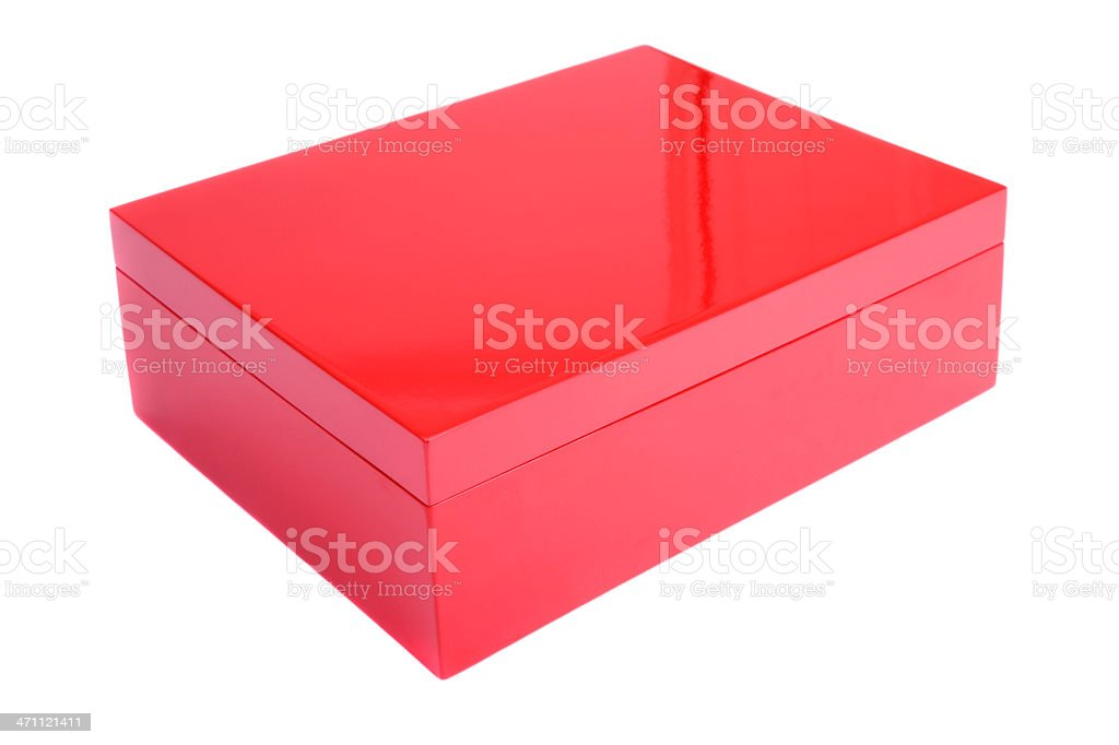 Isolated red Christmas gift box on white bright royalty-free stock photo