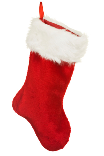 A Red Christmas Stocking On White Background Holiday Ornament