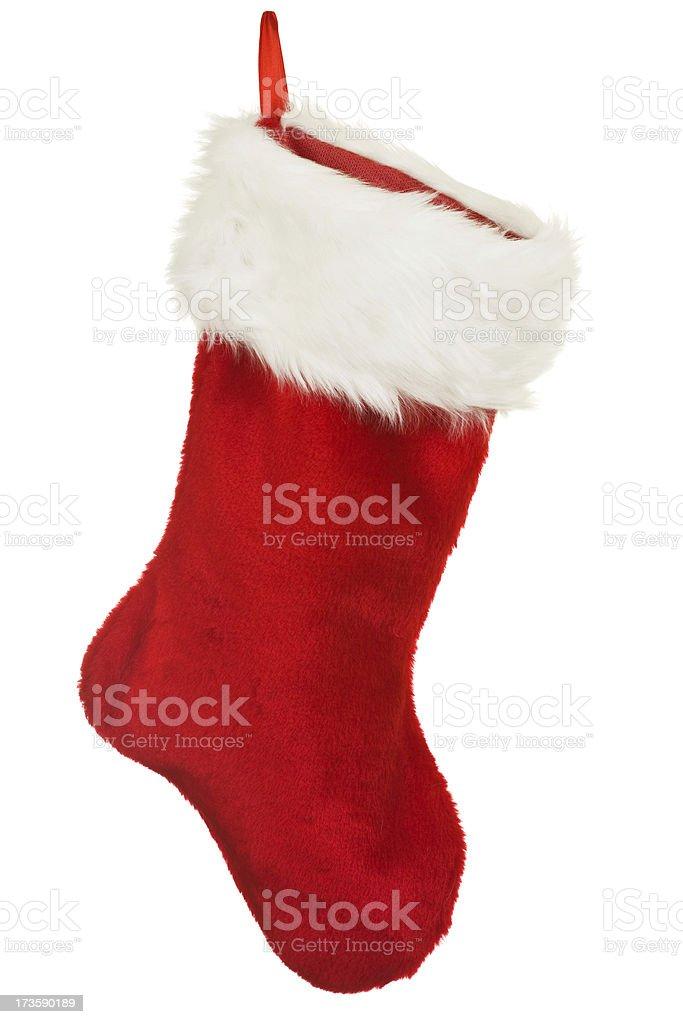 Isolé rouge Chaussette de Noël avec un ornement de Noël - Photo