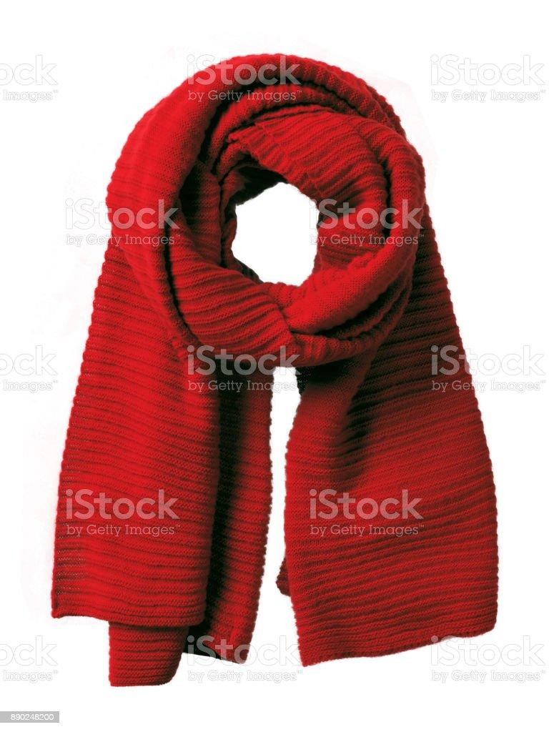 Bufanda de invierno tejidos a mano rojo aislado - foto de stock