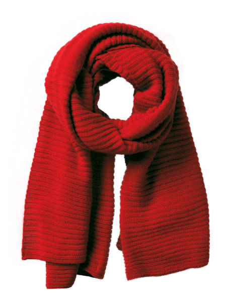 isolated red handmade knitted winter scarf - cachecol imagens e fotografias de stock