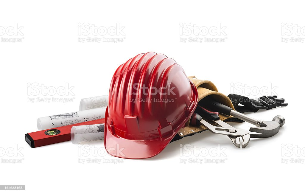 isolated red hard hat with tools on white stock photo