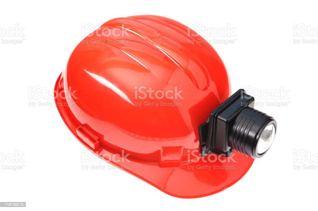 Isolated red hardhat royalty-free stock photo