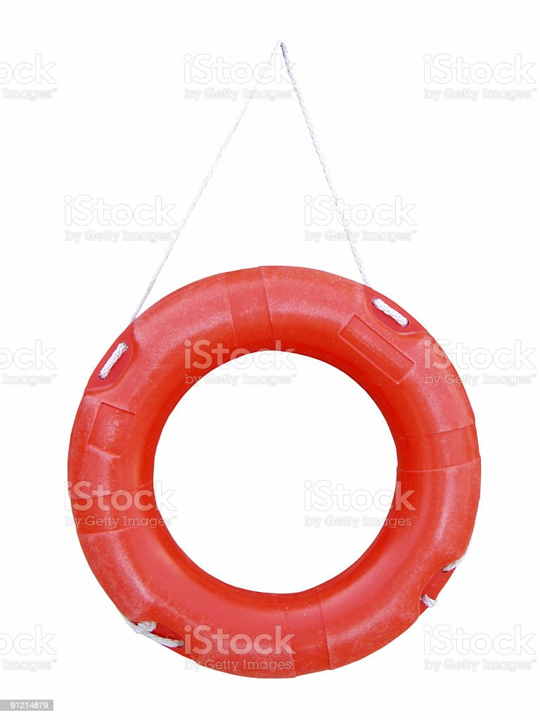 Isolated red life preserver royalty-free stock photo