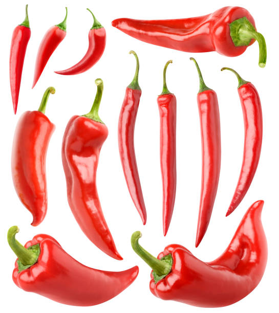 isolated red peppers collection - chilli stock photos and pictures