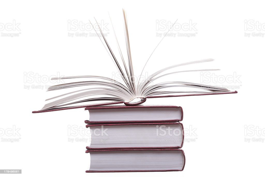 Isolated red pile books royalty-free stock photo