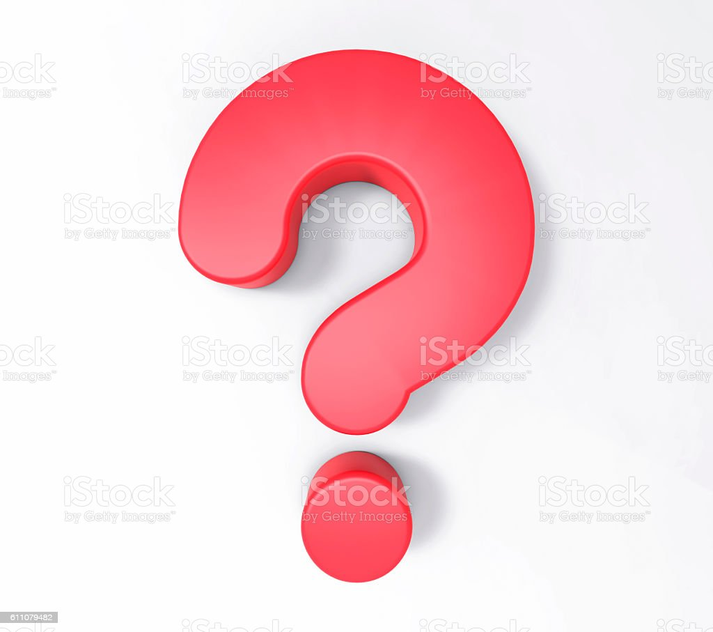 3D Isolated Red Question Mark. Doubt Solution Support Concept. stock photo