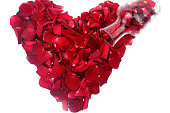 istock Isolated red rose heart shape 1195749052