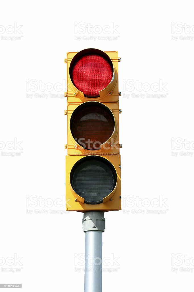 Isolated Red traffic signal light stock photo
