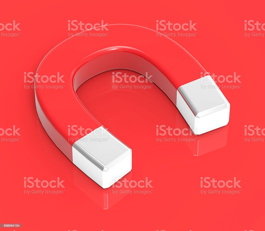 3D Isolated Red White Magnet Attraction Illustration stock photo