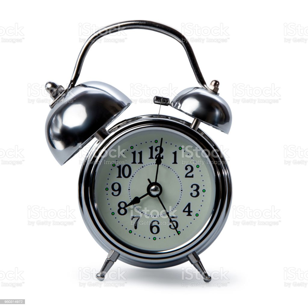 isolated retro alarm clock on white background, one big bell of alarm clock and normal side, alarming conception for keep time management stock photo