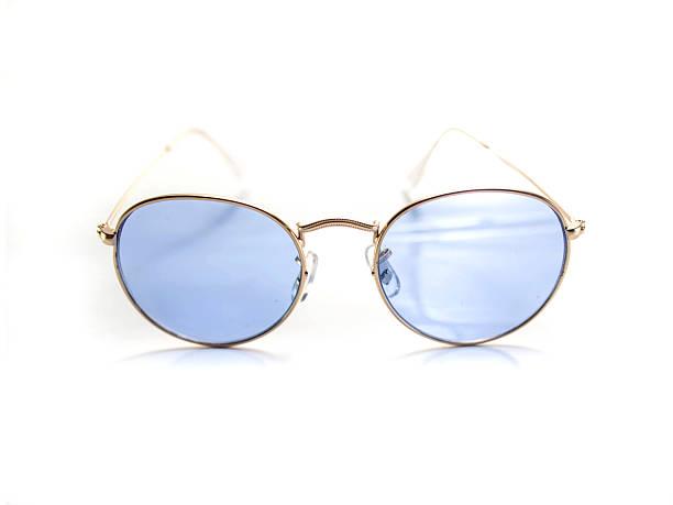 Isolated retro blue round sunglasses stock photo