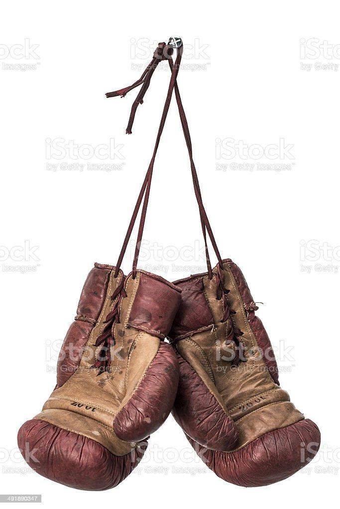 Isolated retro boxing gloves stock photo