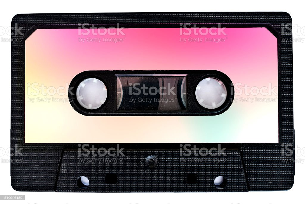 isolated retro cassette tape on white background stock photo