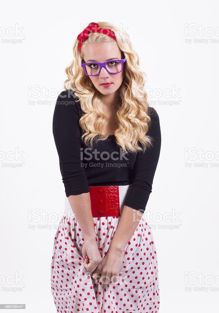 Isolated retro girl stock photo